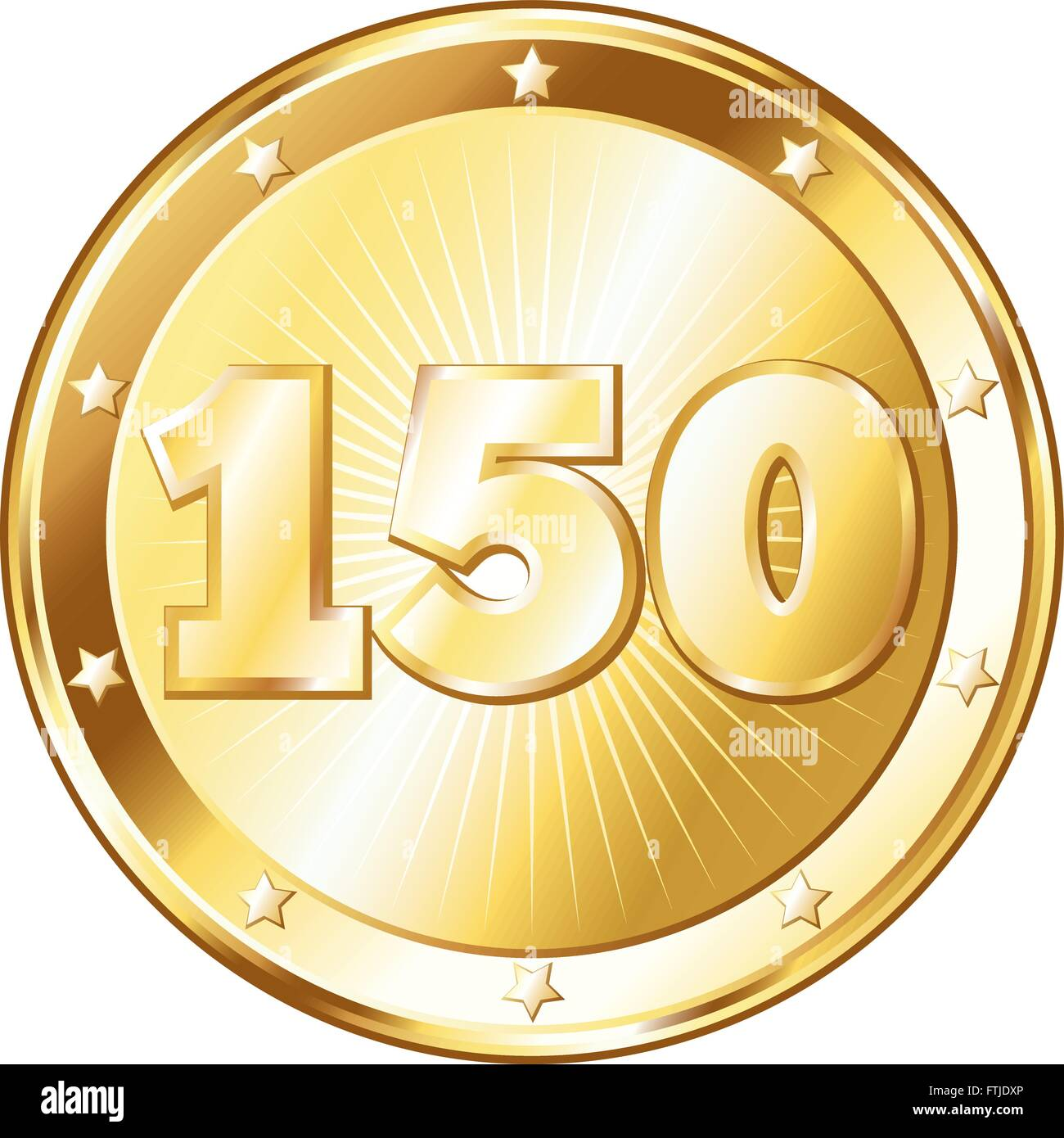 Round circle shaped metal badge / seal of approval in a gold look and the number one hundred fifty. - Stock Vector