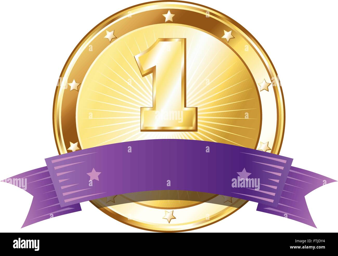 Round circle shaped metal badge / seal of approval in a gold look with a purple ribbon and the number one. - Stock Vector