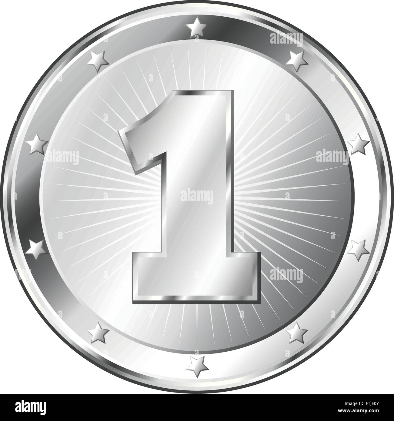 Round circle shaped metal badge / seal of approval in silver look and the number one. - Stock Vector