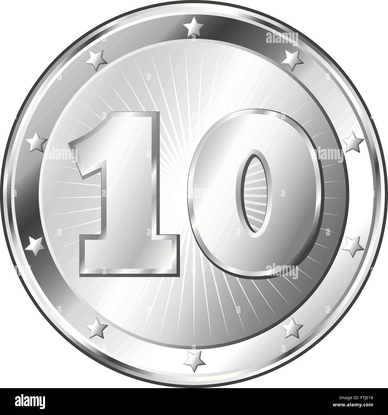 Round circle shaped metal badge / seal of approval in silver look and the number ten. - Stock Vector