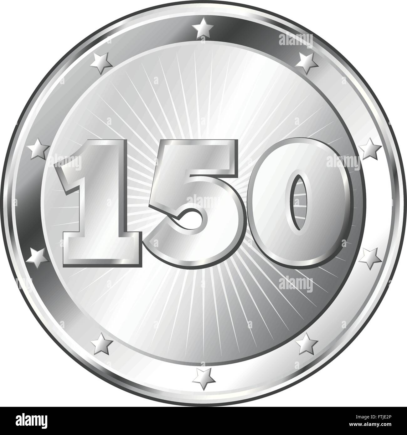 Round circle shaped metal badge / seal of approval in silver look and the number one hundred fifty. - Stock Vector