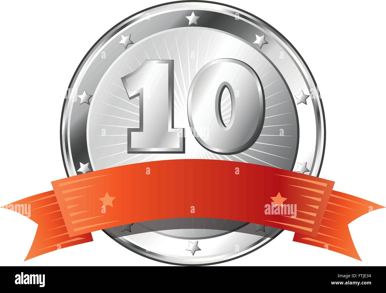 Round circle shaped metal badge / seal of approval in silver look with a red ribbon and the number ten. - Stock Vector