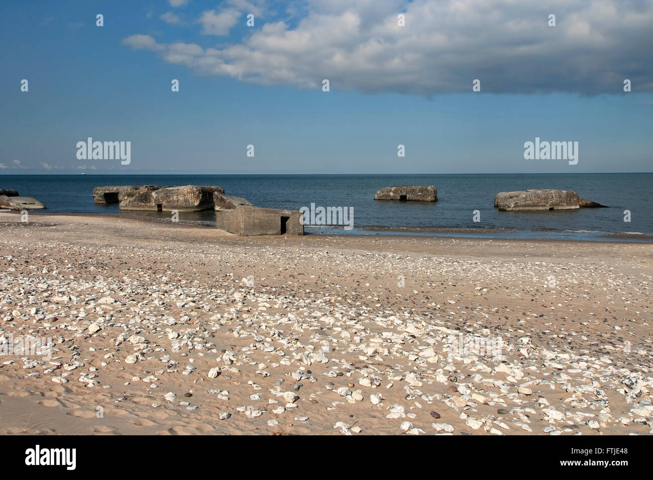 Second World War bunkers on a beach north of Hanstholm