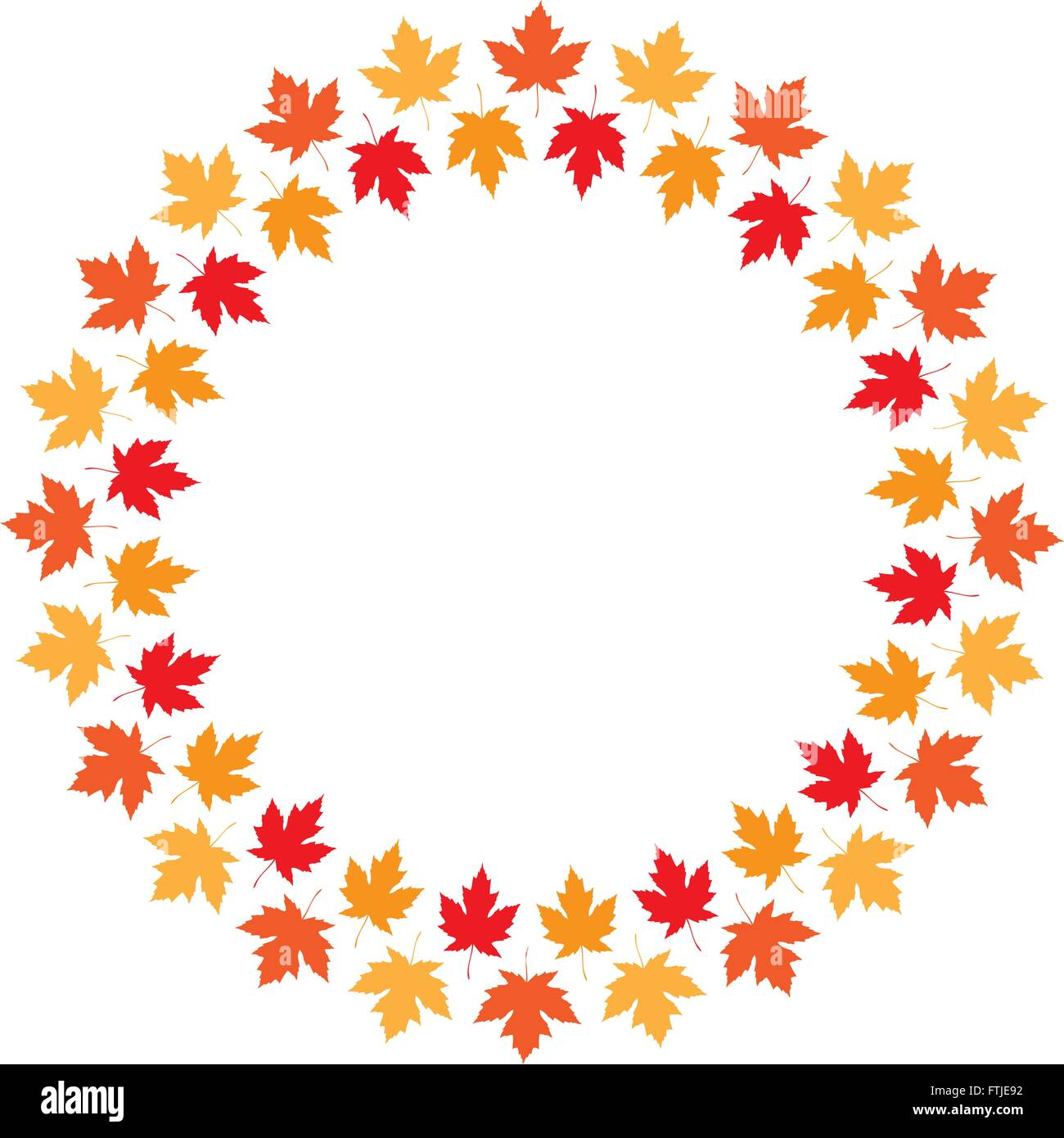 Vector round frame from maple autumn leaves of different colors ...
