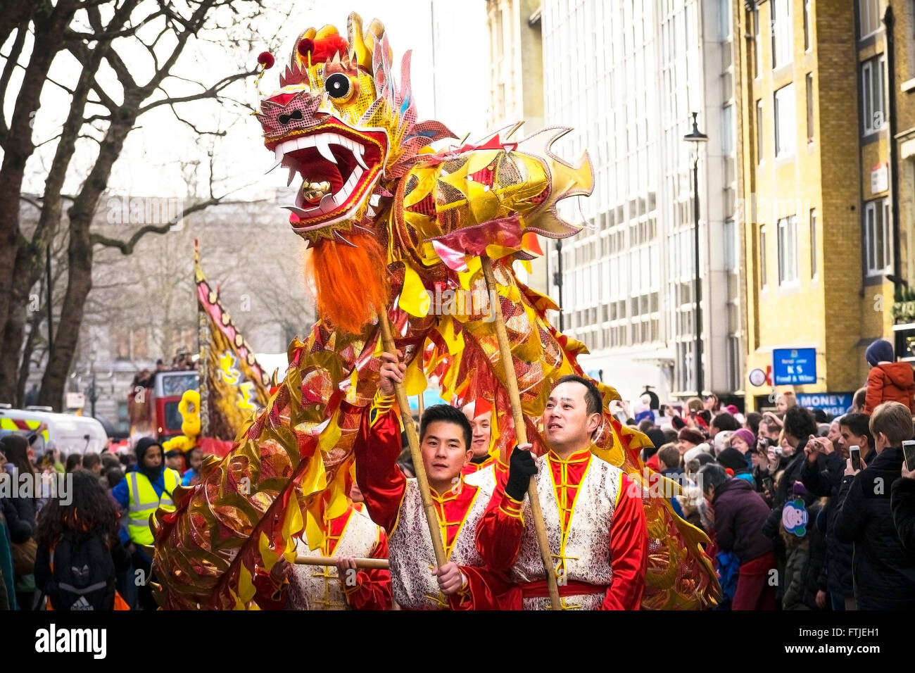 In London thousands of people celebrate the Chinese New Year. - Stock Image