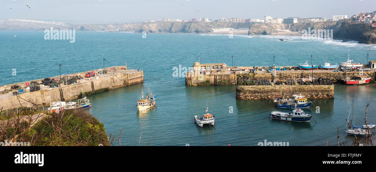 A panoramic view of Newquay Harbour in Cornwall. - Stock Image