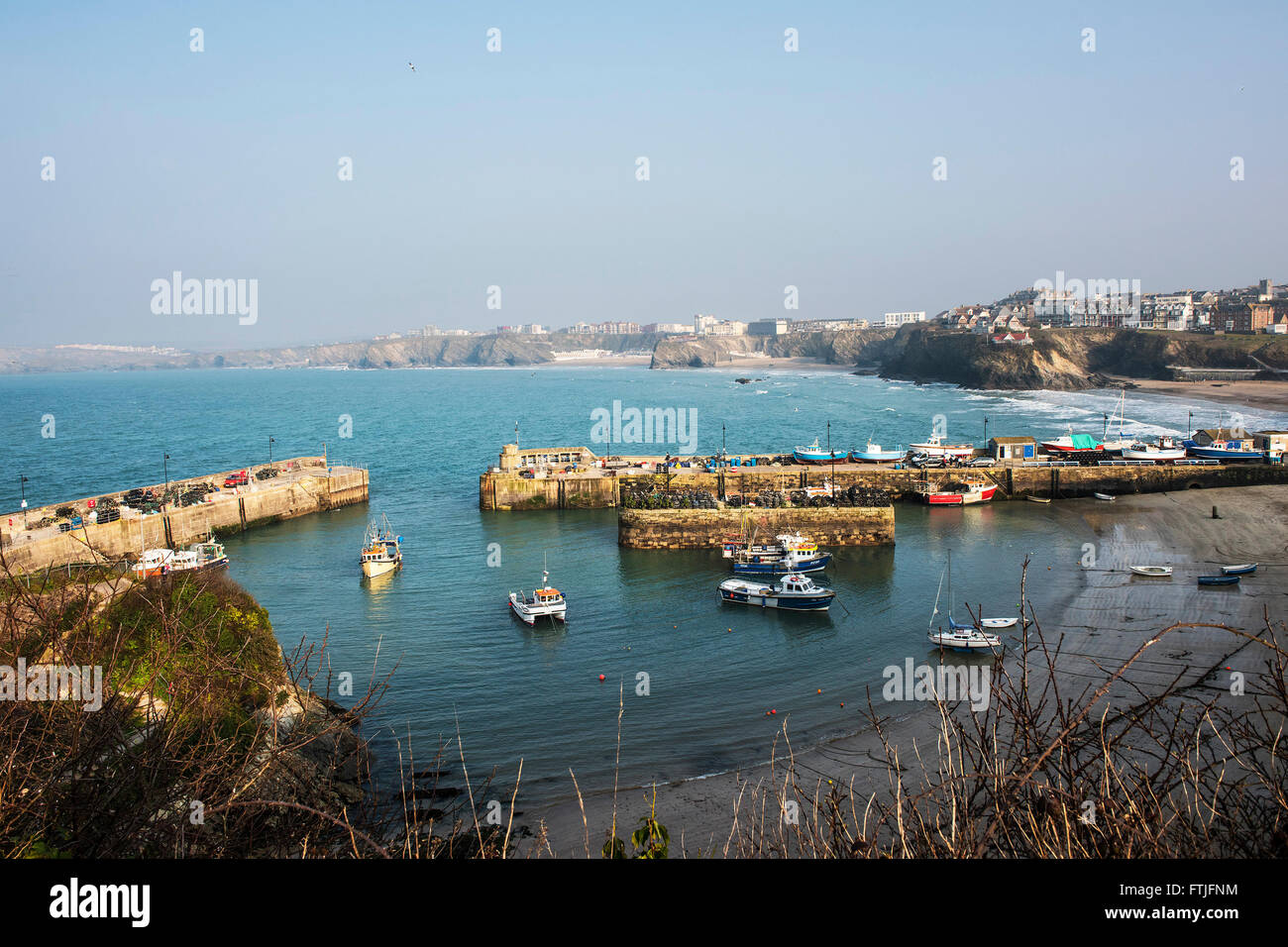 Newquay harbour harbor  in Cornwall. - Stock Image