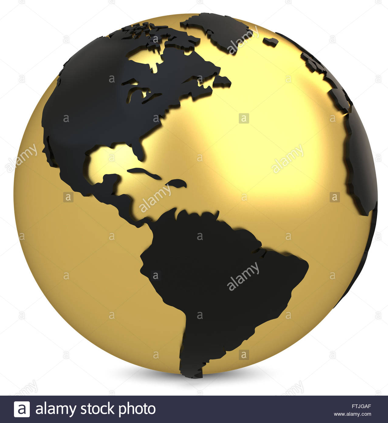 3d golden earth globe on white background - Stock Image