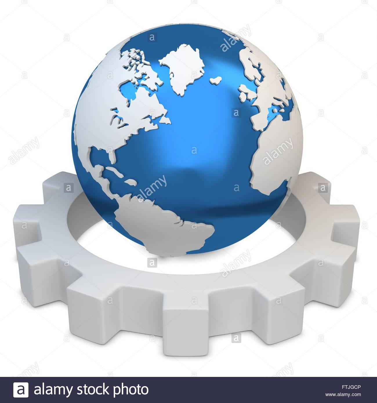 3d earth globe with gear on white background - Stock Image