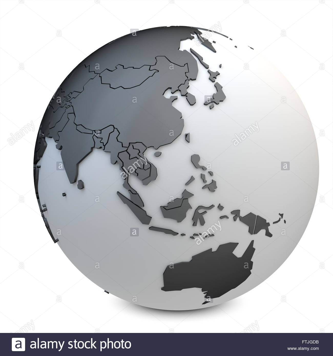 3d earth globe black on white background - Stock Image