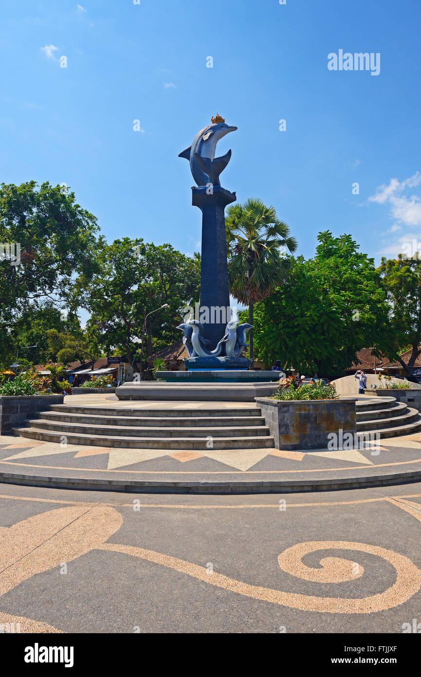 Delfin-Statue, Lovina Beach, Nordbali, Bali, Indonesien - Stock Image