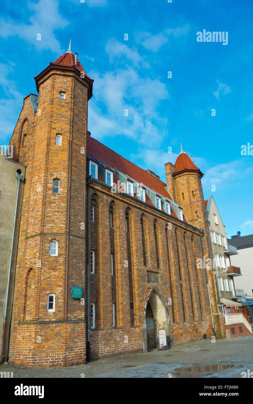 Brama Mariacka, Dlugie Pobrzeze, riverside promenade, Glowne Miasto, Main city, Gdansk, Pomerania, Poland - Stock Image
