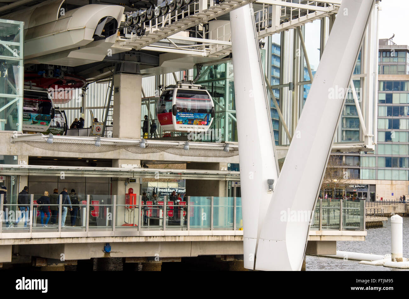 The Emirates Air Line cable car station at The Royal Victoria Dock in London. - Stock Image