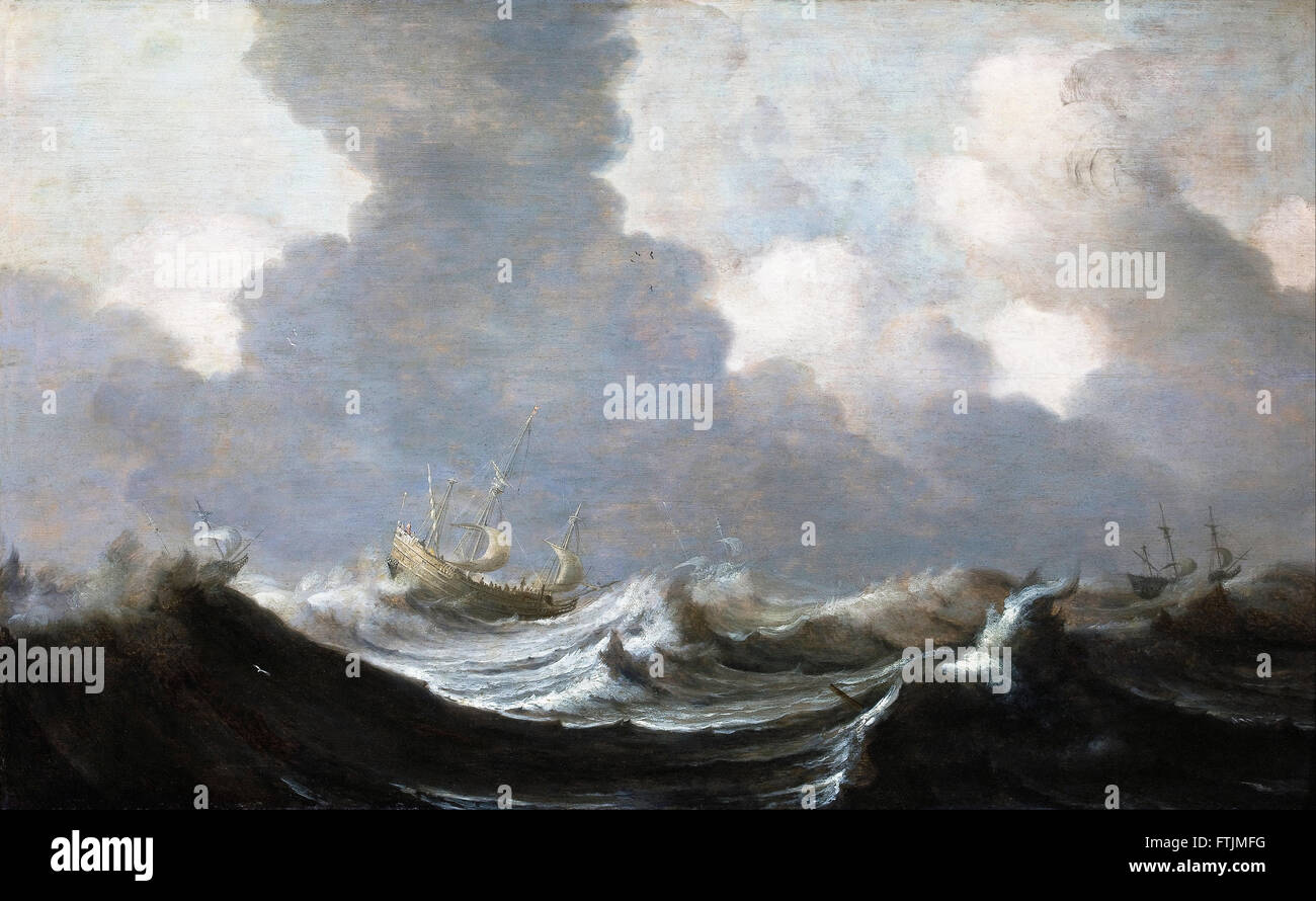 Pieter Mulier the Elder - Four Vessels Running Before a Gale -  Hallwyl Museum - Stock Image