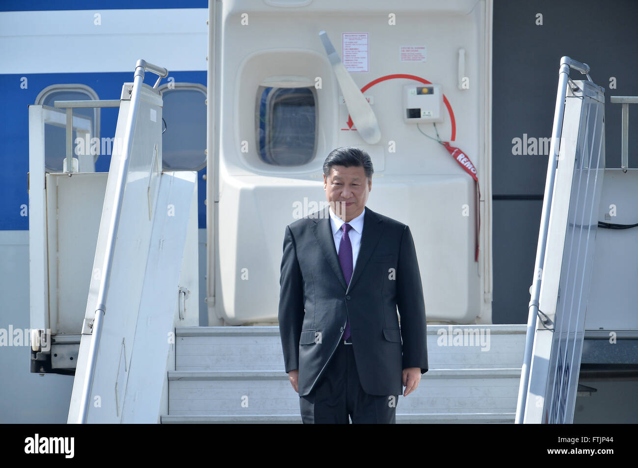 Prague, Czech Republic. 28th Mar, 2016. China's President Xi Jinping arrives for a three-day official visit - Stock Image