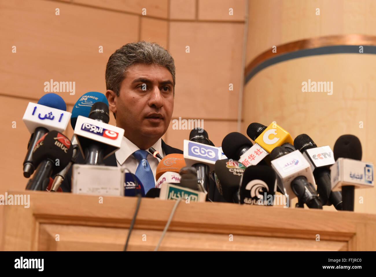 Cairo, Egypt  29th Mar, 2016  Egyptian Civil Aviation Minister