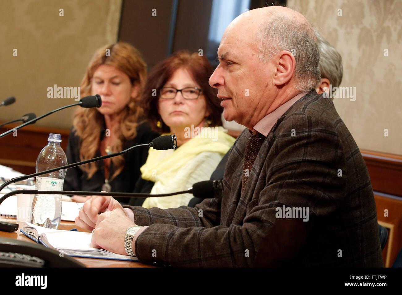 Rome, Italy. 29th March, 2016.  Press conference of Giulio Regeni's parents. Giulio Regeni, was an Italian student, - Stock Image