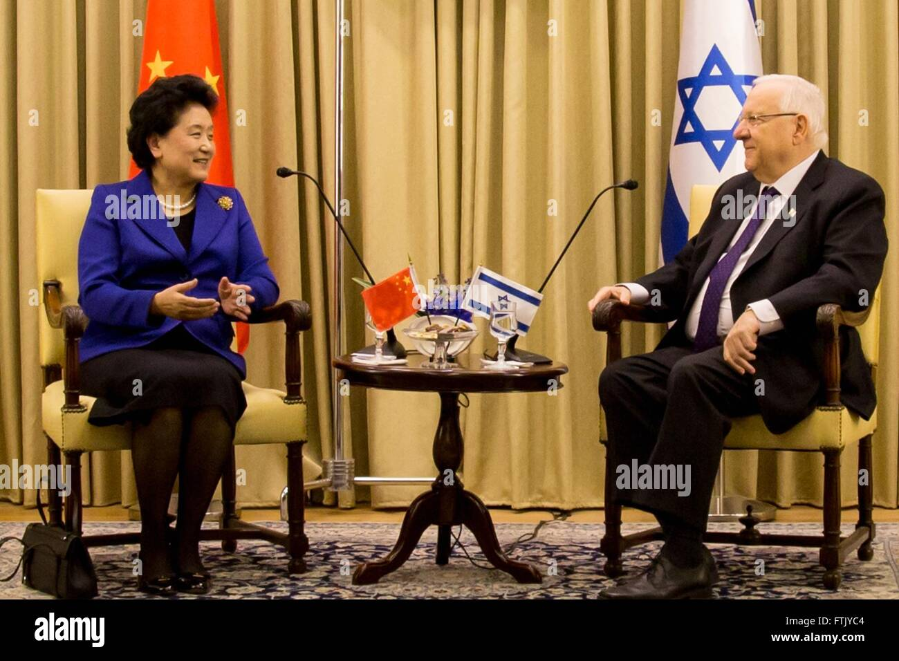 Jerusalem. 29th Mar, 2016. Chinese Vice Premier Liu Yandong(L) meets with Israeli President Reuven Rivlin in Jerusalem, - Stock Image