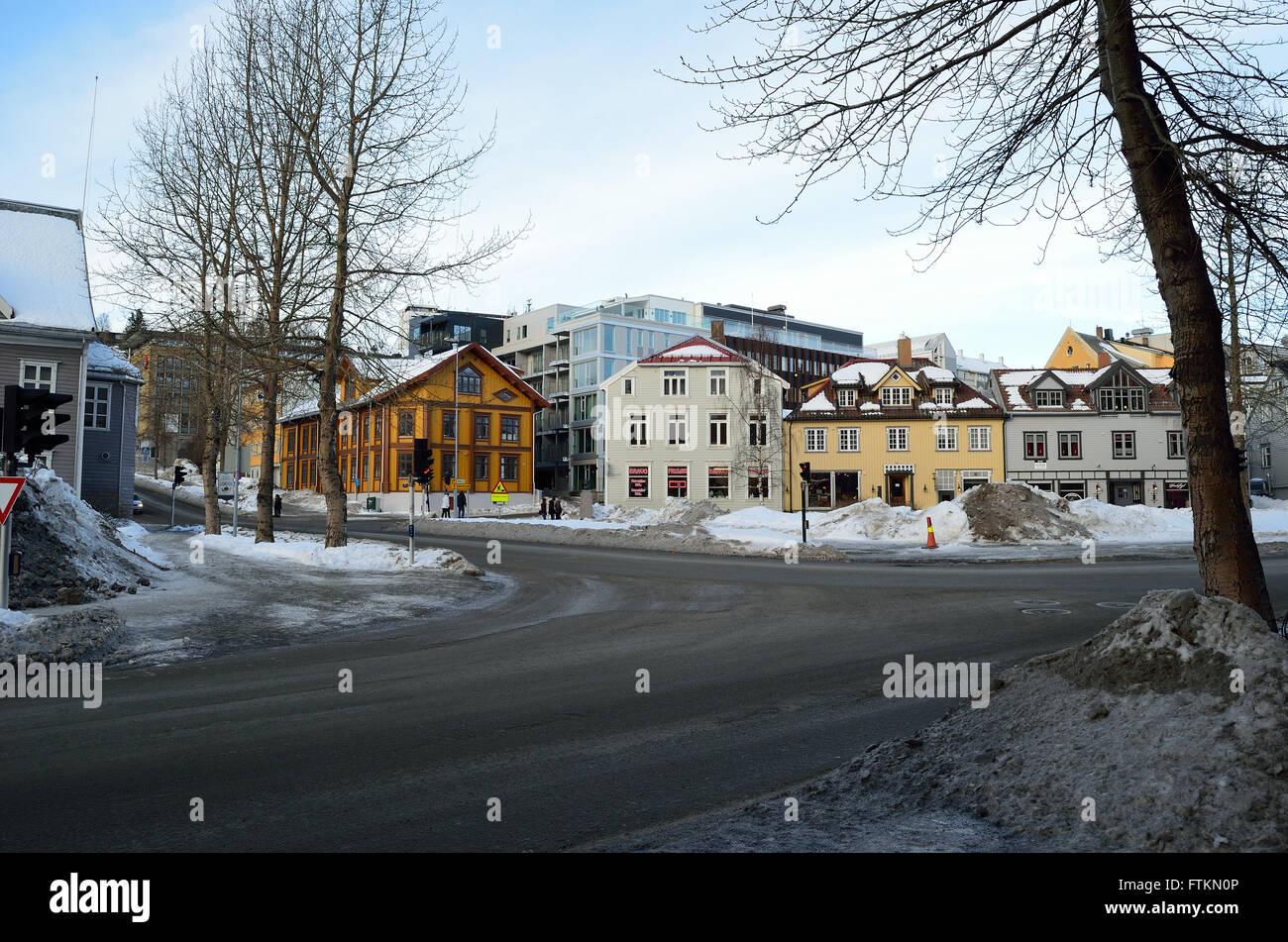 tromsoe city sentrum 20th february 2016 - Stock Image