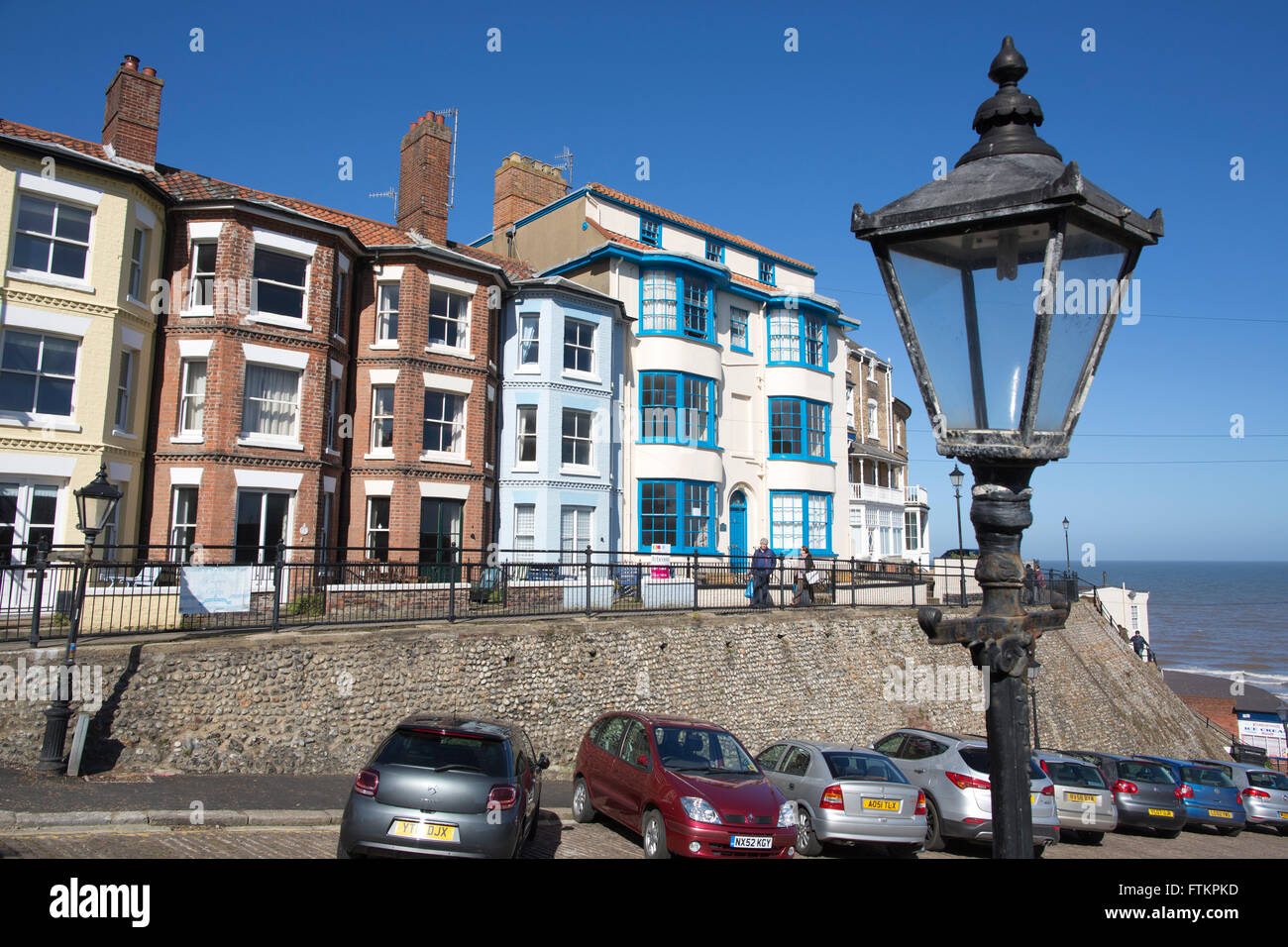 Guest houses on the seafront at Cromer, Norfolk coastal town, East Anglia, England, United Kingdom - Stock Image