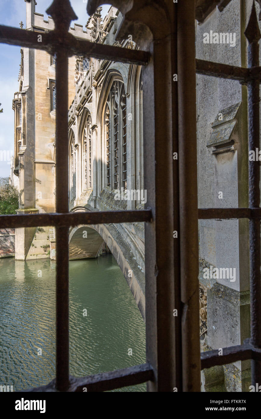 A view from a window of the Bridge of Sighs in St John's College, Cambridge - Stock Image