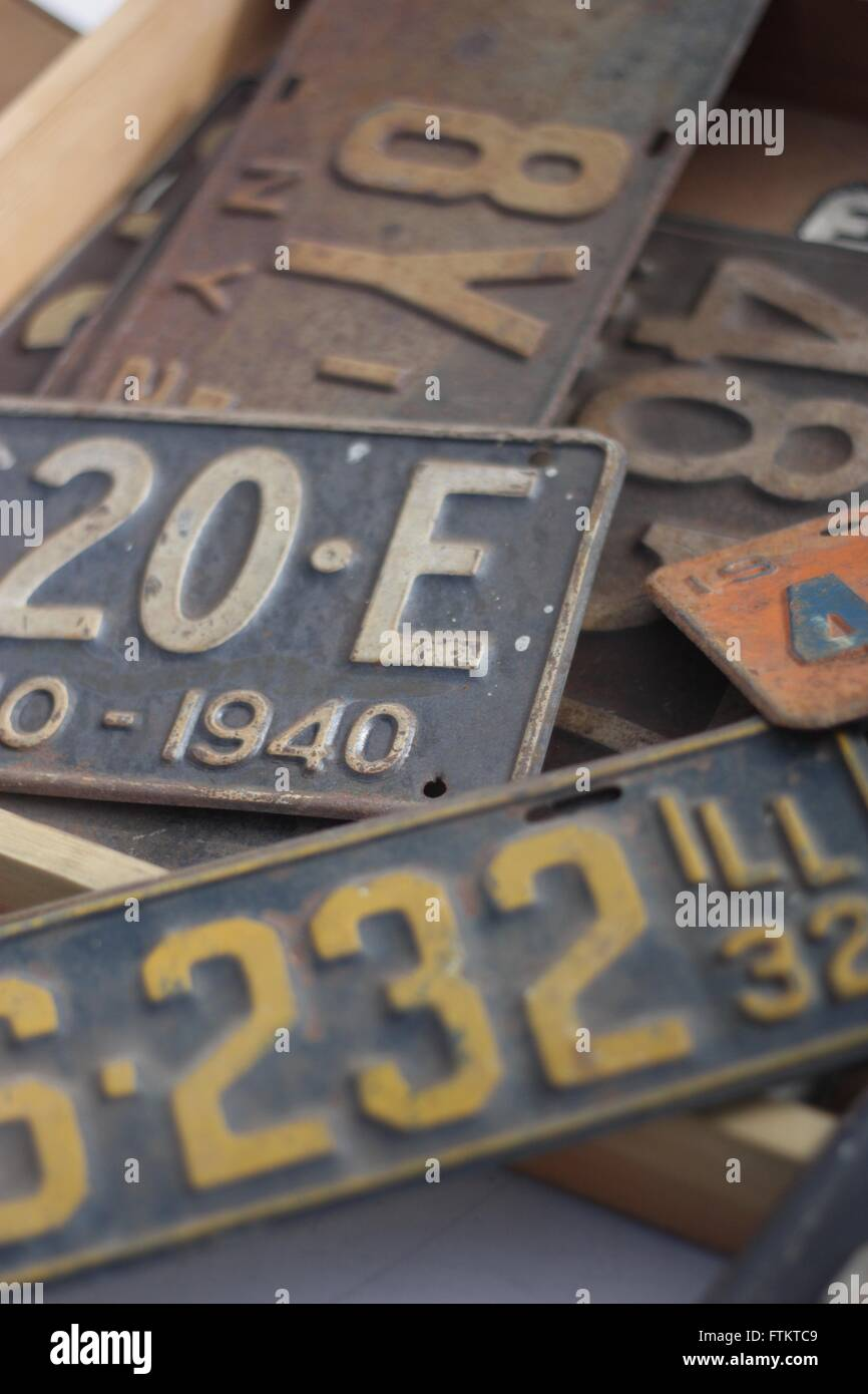 Old American license plates - Stock Image