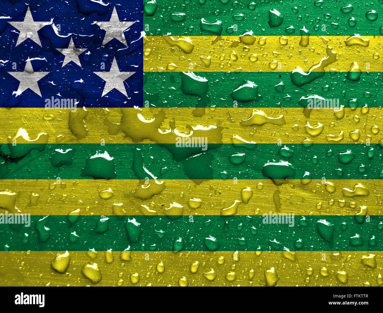 State of Goias flag with rain drops - Stock Image