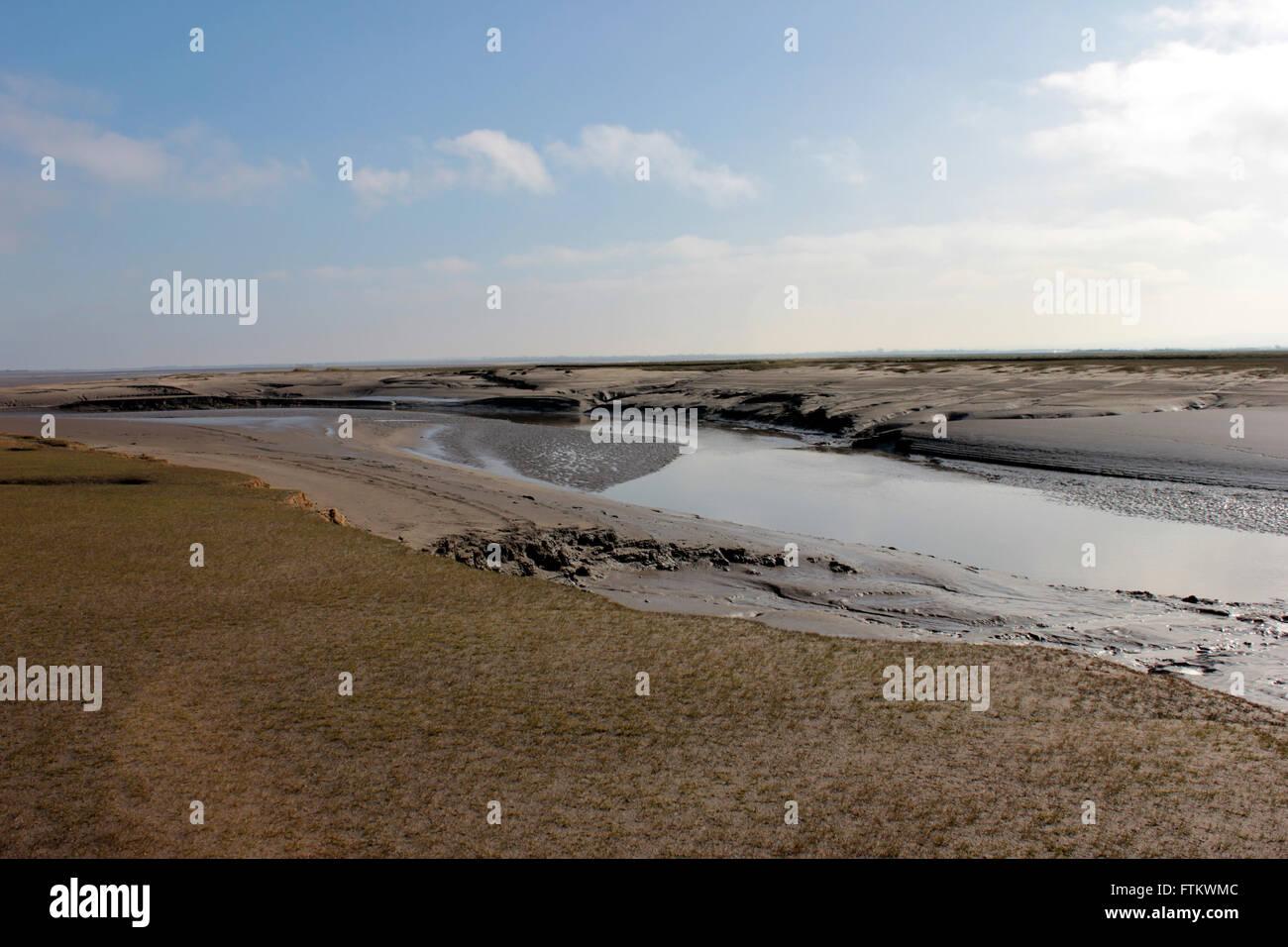 Skinburness salt marsh, tidal estuary near Grune point in West Cumbria Stock Photo