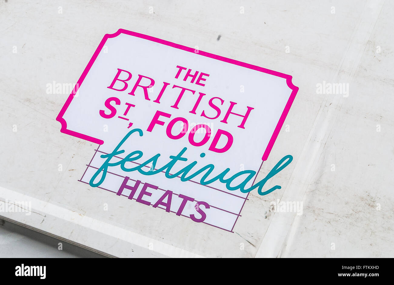 The sign at the British Street Food Festival held in Falmouth, Cornwall UK in 2015 - Stock Image