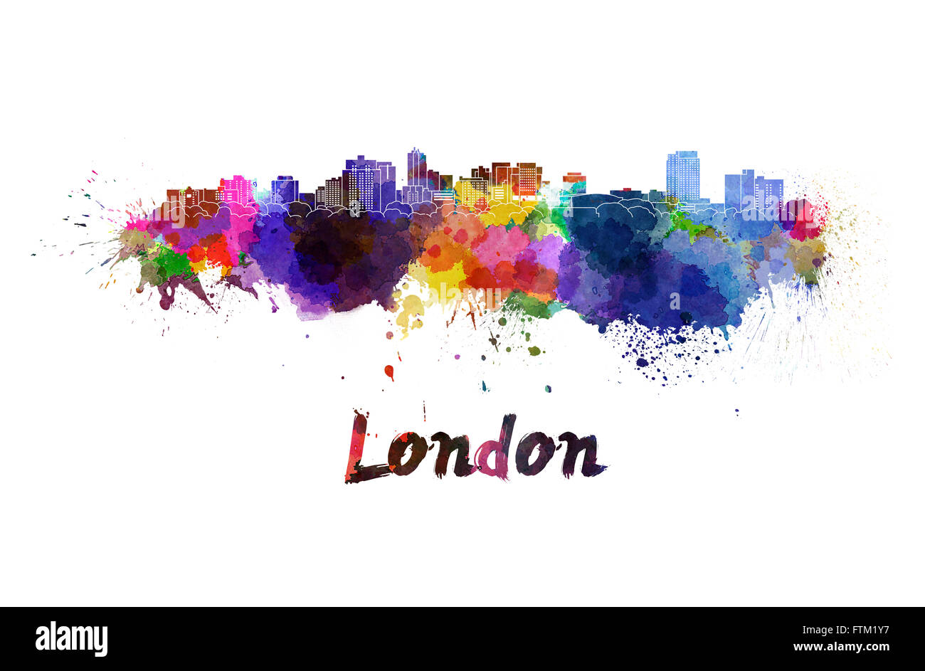 London skyline in watercolor splatters with clipping path - Stock Image