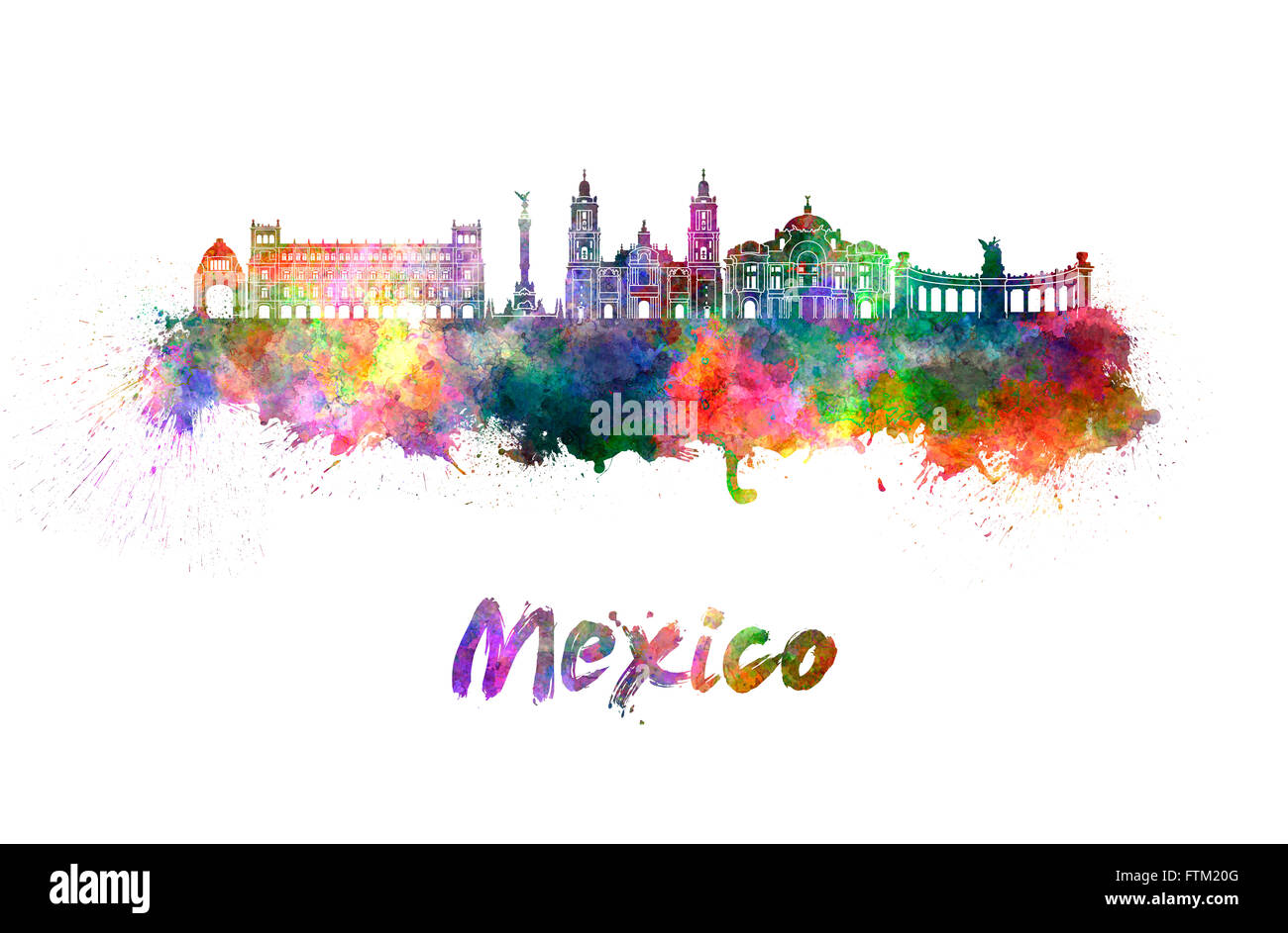 Mexico City skyline in watercolor splatters with clipping path - Stock Image