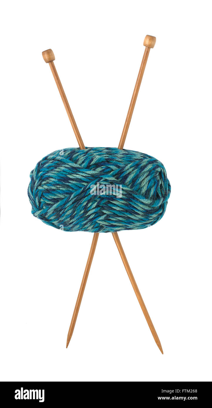 Ball of wool with knitting needles - Stock Image