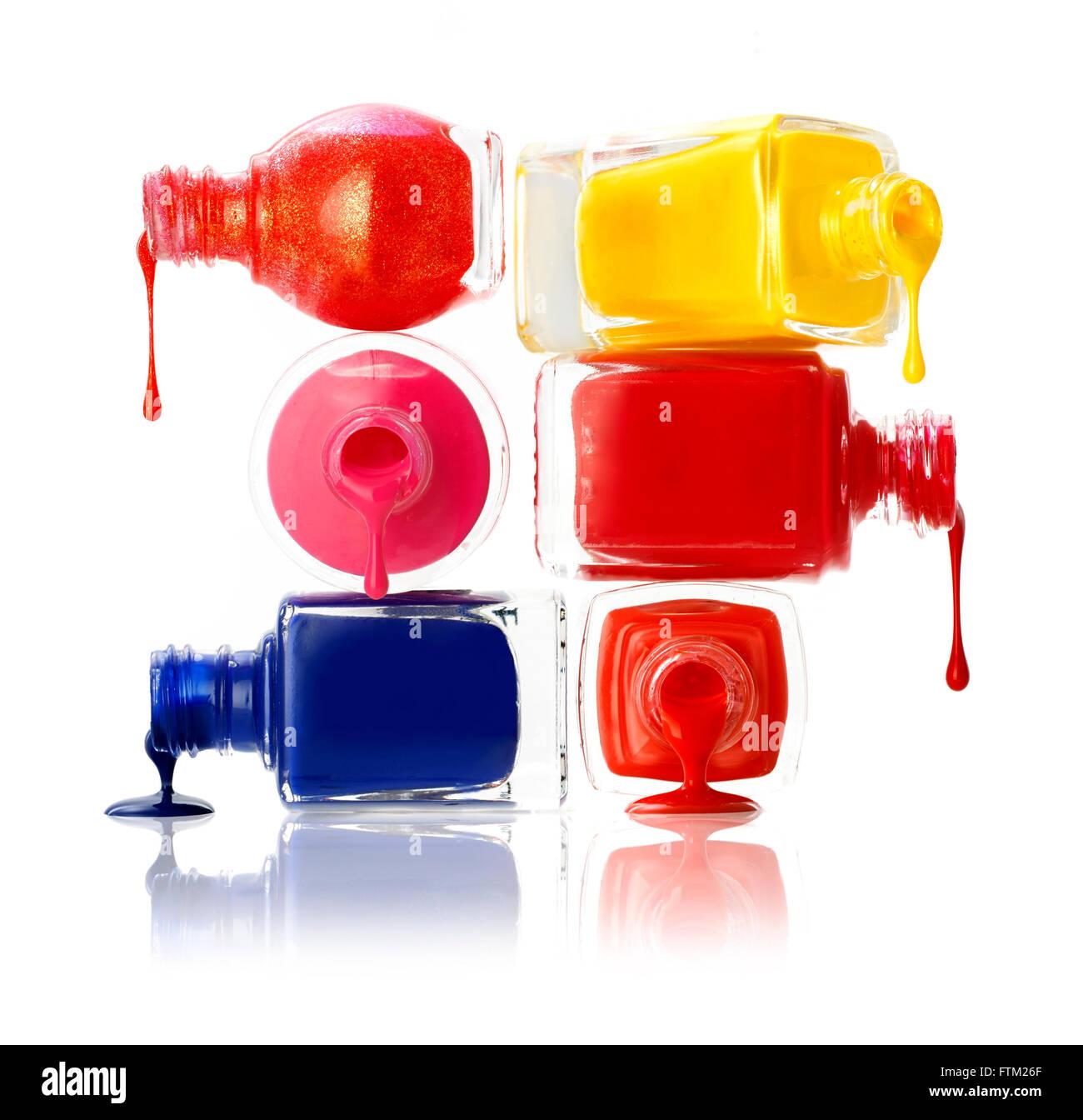 Stack of brightly coloured nail polish pots Stock Photo: 101244375 ...