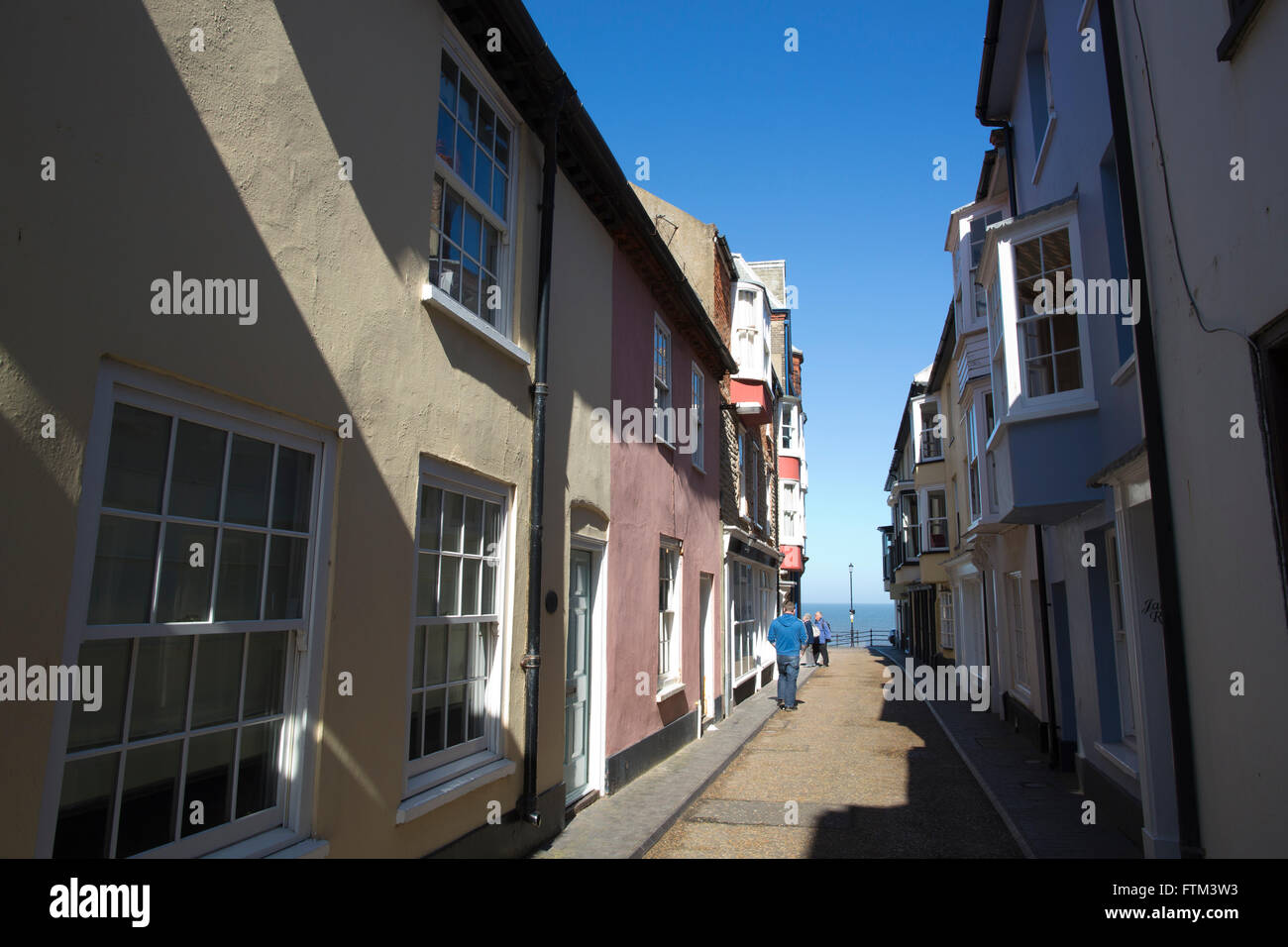 Old fisherman cottages on Jetty Street, Cromer, Norfolk coastal town, East Anglia, England, United Kingdom - Stock Image