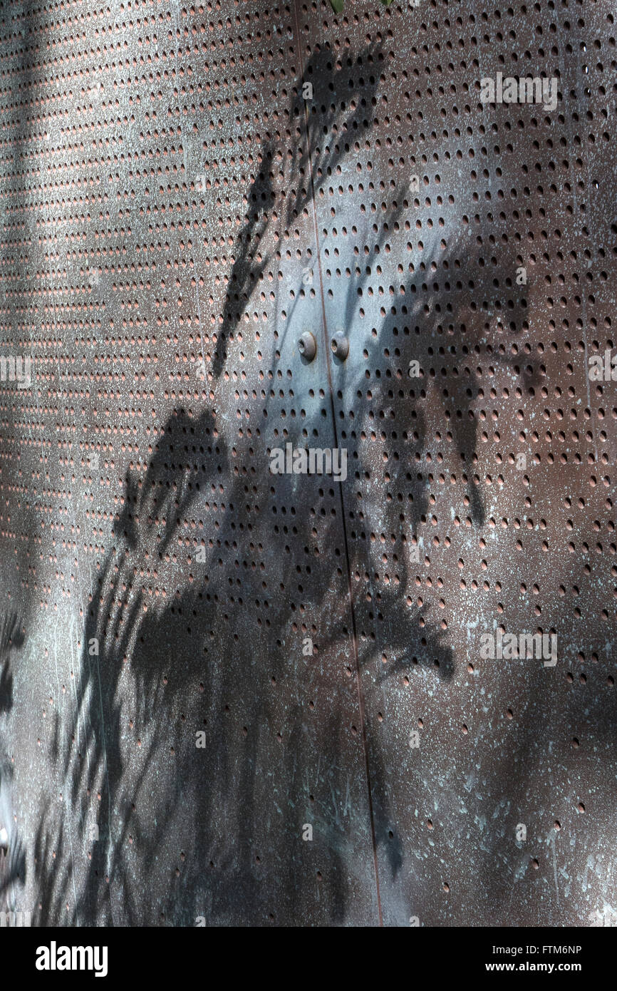 Punched pattern in steel sheet. Artwork Kings Park, Perth, Western Australia - Stock Image