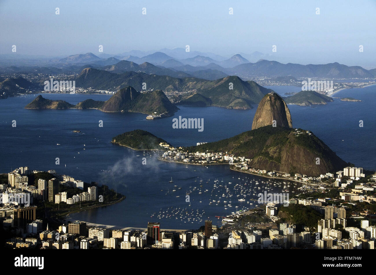 Botafogo Bay with the Morro da Urca and Pao de Acucar - Incidental Niteroi Stock Photo