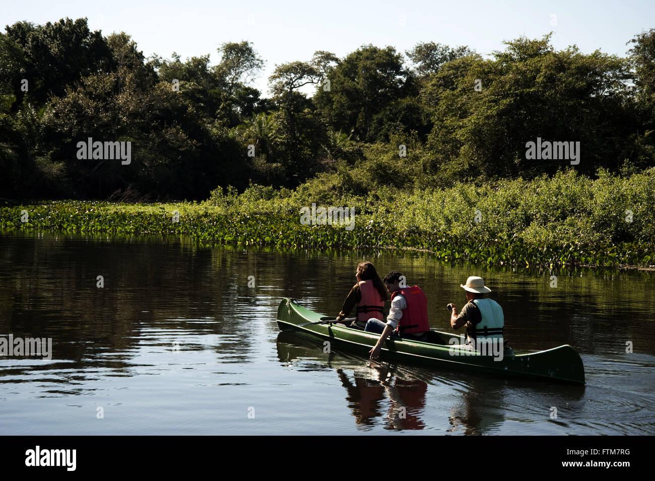 Corixo canoe ride on the arm of Rio Sao Domingos Miranda - Stock Image