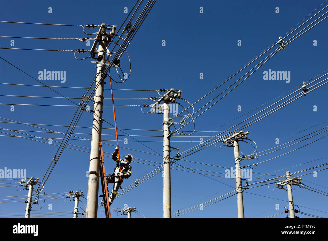 Maintenance of electrical network outside the town of Cuiaba - Stock Image