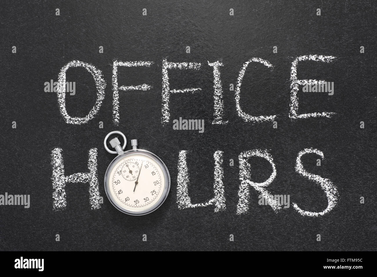 office hours phrase handwritten on chalkboard with vintage precise stopwatch used instead of O - Stock Image