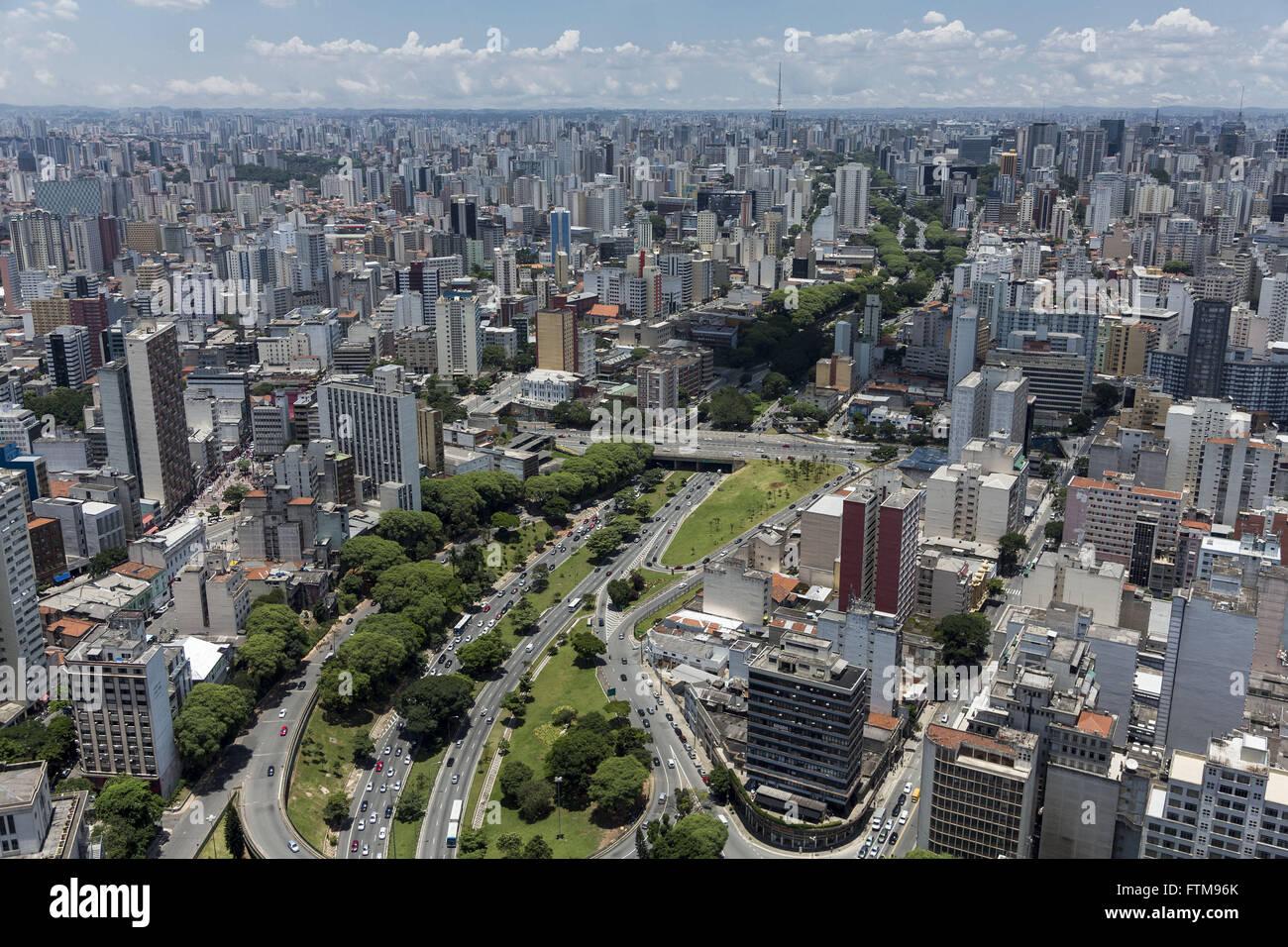 Aerial view of the city center - beginning of Avenida 23 de Maio - Stock Image
