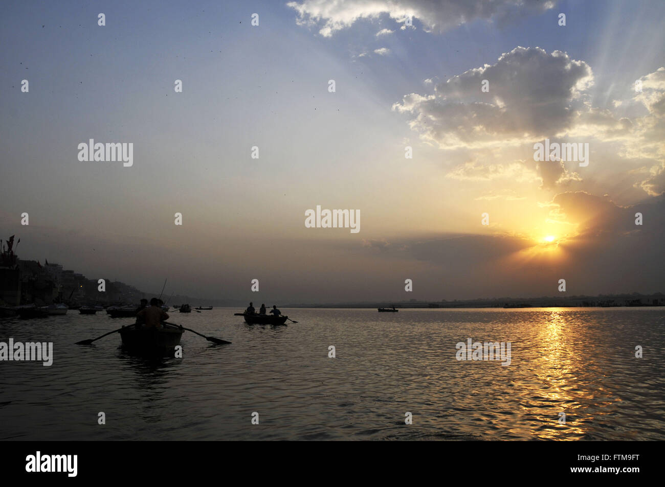 Ganges River on the edge of the city of Varanasi - considered a sacred river for Hindus - Stock Image