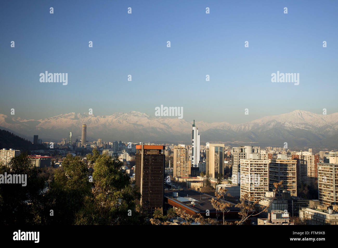 View of Santiago from Cerro San Cristobal and the Andes in the background - Stock Image