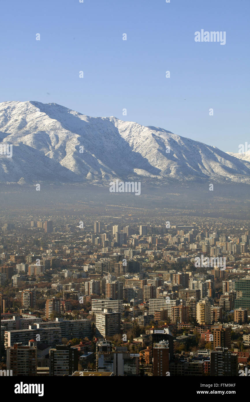 View of the city of Santiago with the Andes in the background - Chile - Stock Image