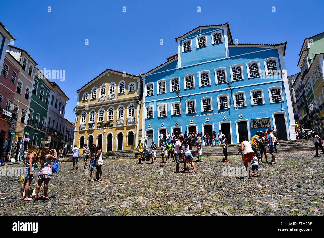 Movement of tourists in front of the City Museum and Casa de Jorge Amado Foundation right - Stock Image