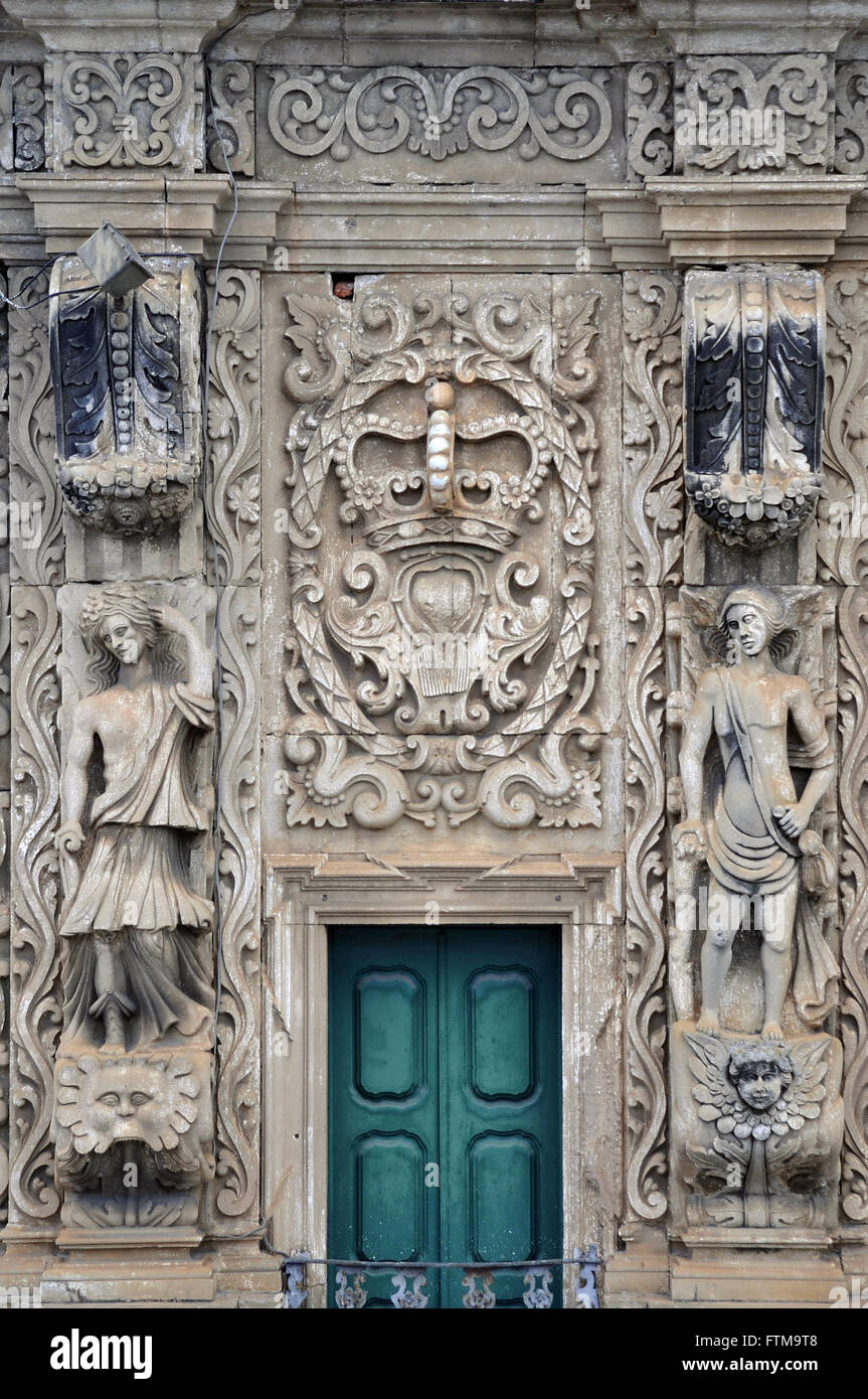 Detail of the upper facade of the Church of the Third Order of St. Francis - Stock Image