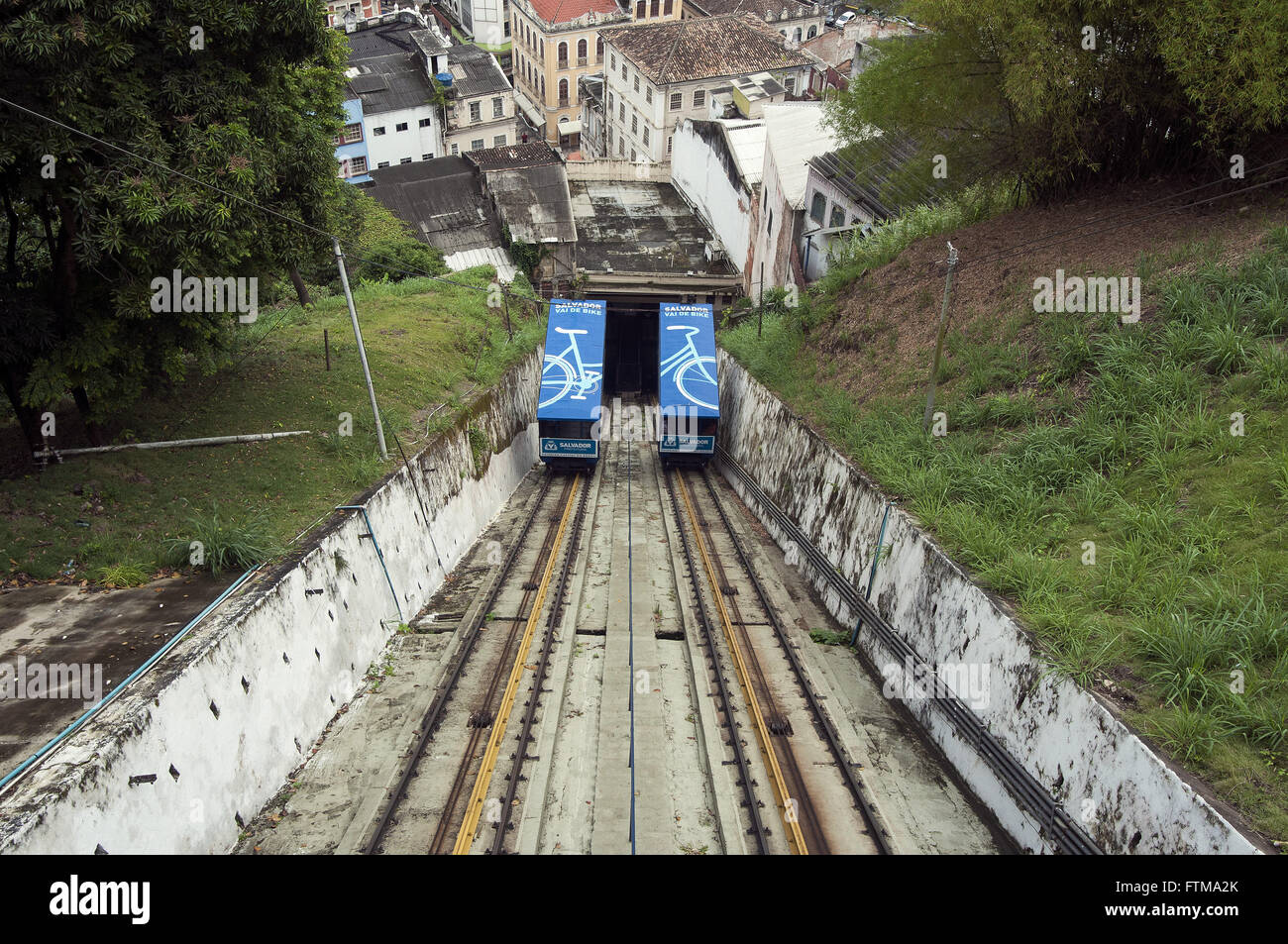 Inclined Plane Goncalves - connecting the historic center to the lower city - Stock Image