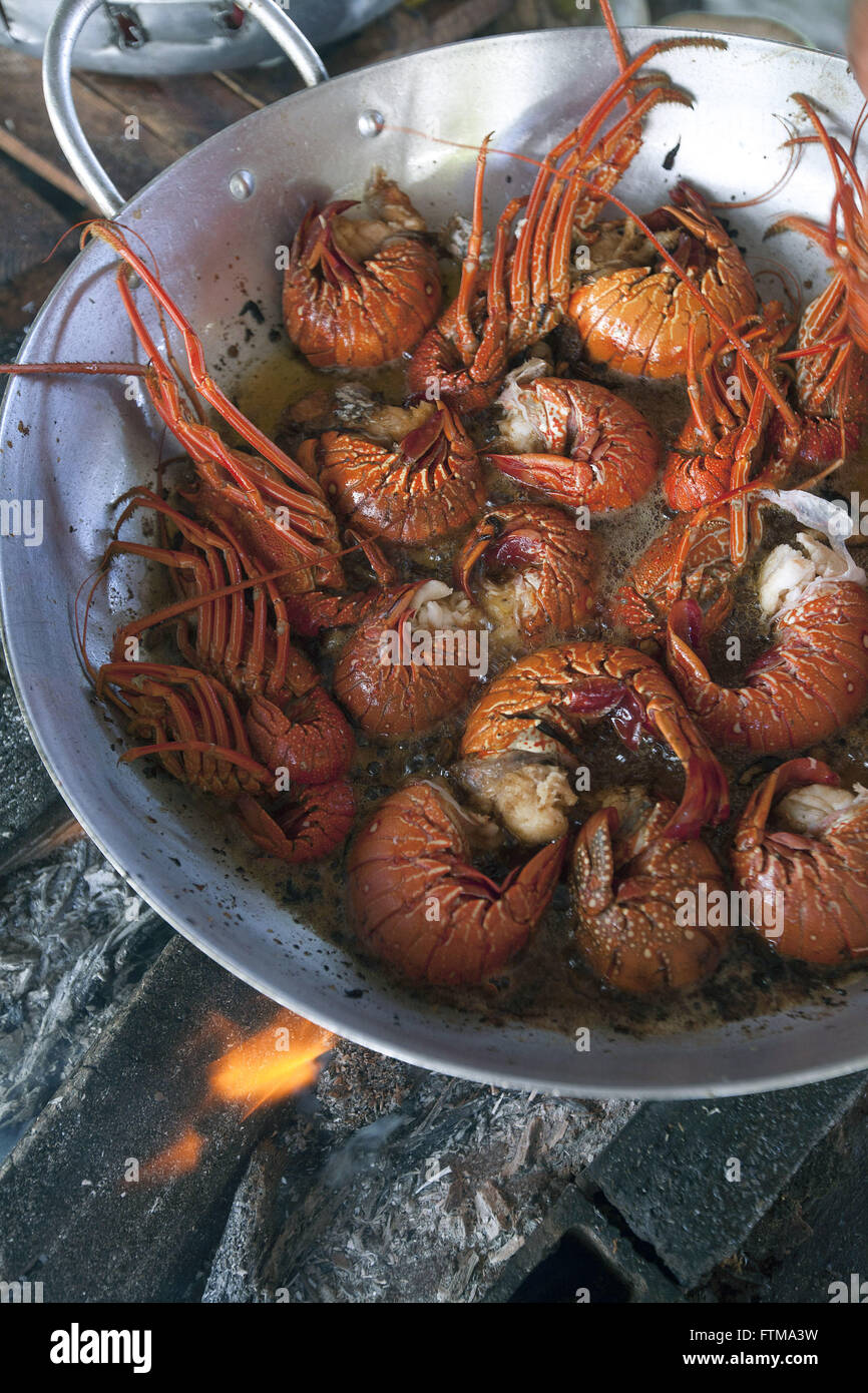 Lobster prepared in wood burning stove in Boipeba - Archipelago Tinhare - Stock Image