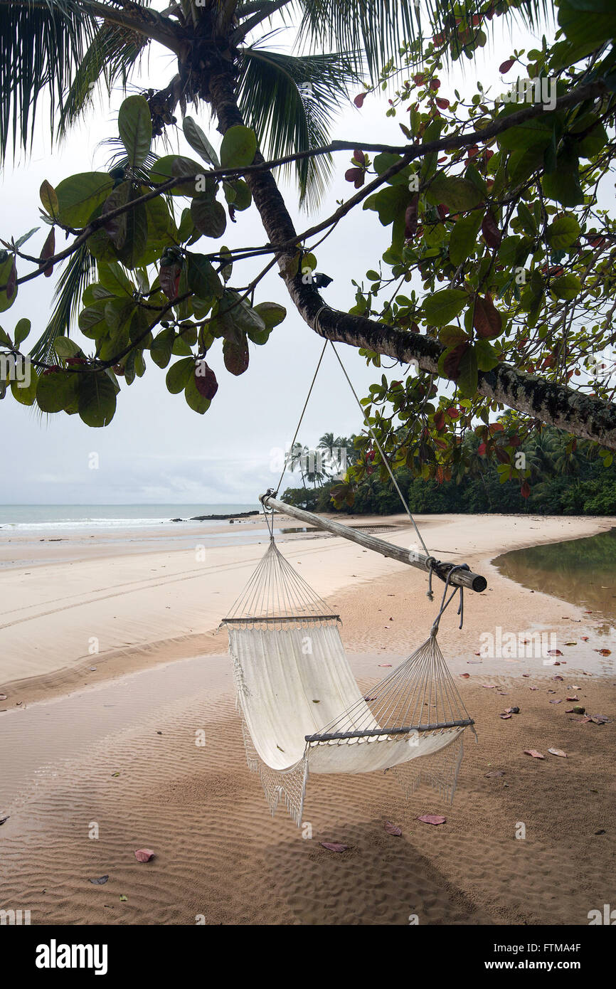 Beach network in the village of Barra Grande in Marau Peninsula - Stock Image