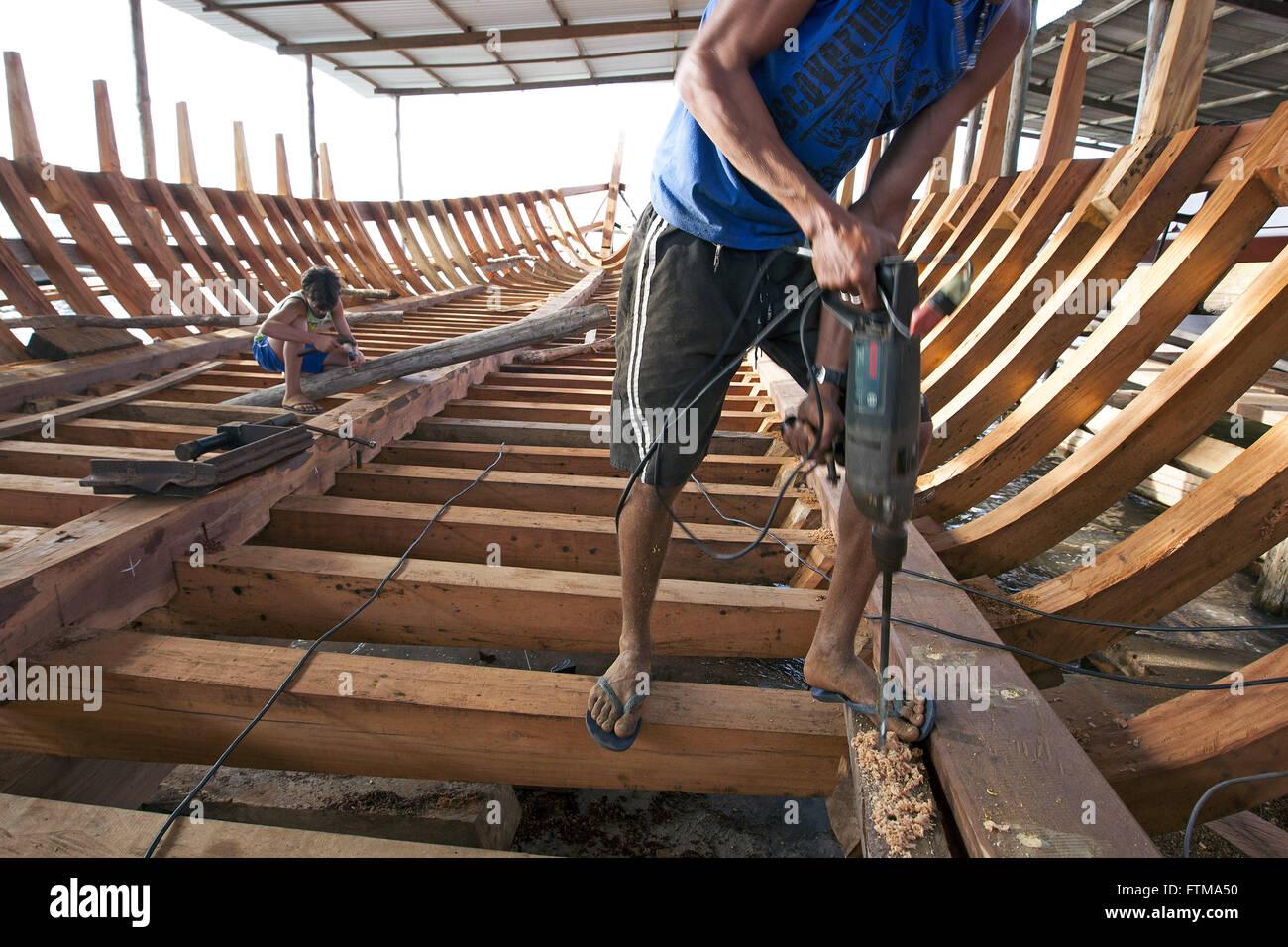 Handmade yard schooners in caicara village of South Cajaiba - Stock Image