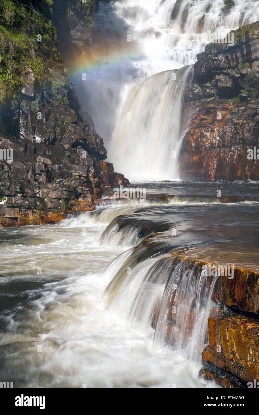 Fringe waterfall - Chapada dos Veadeiros National Park - Stock Image